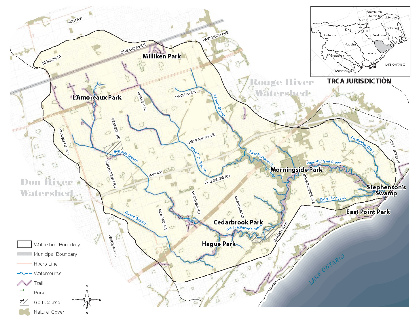 Places of interest within the Highland Creek Watershed