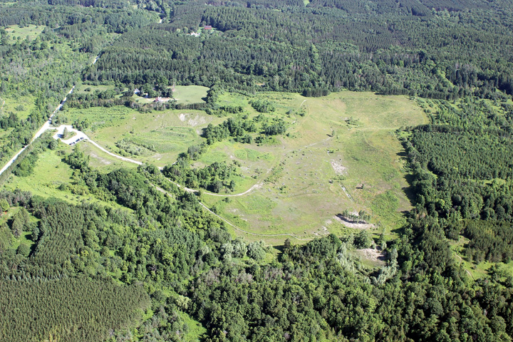 Aerial view of the East Duffins Headwater area in 2012, after restoration work