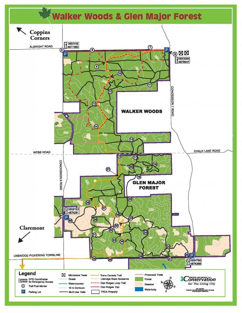 Map of Walker Woods and Glen Major Forest