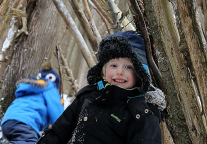 young boy in shelter at Claremont Nature Centre winter camp