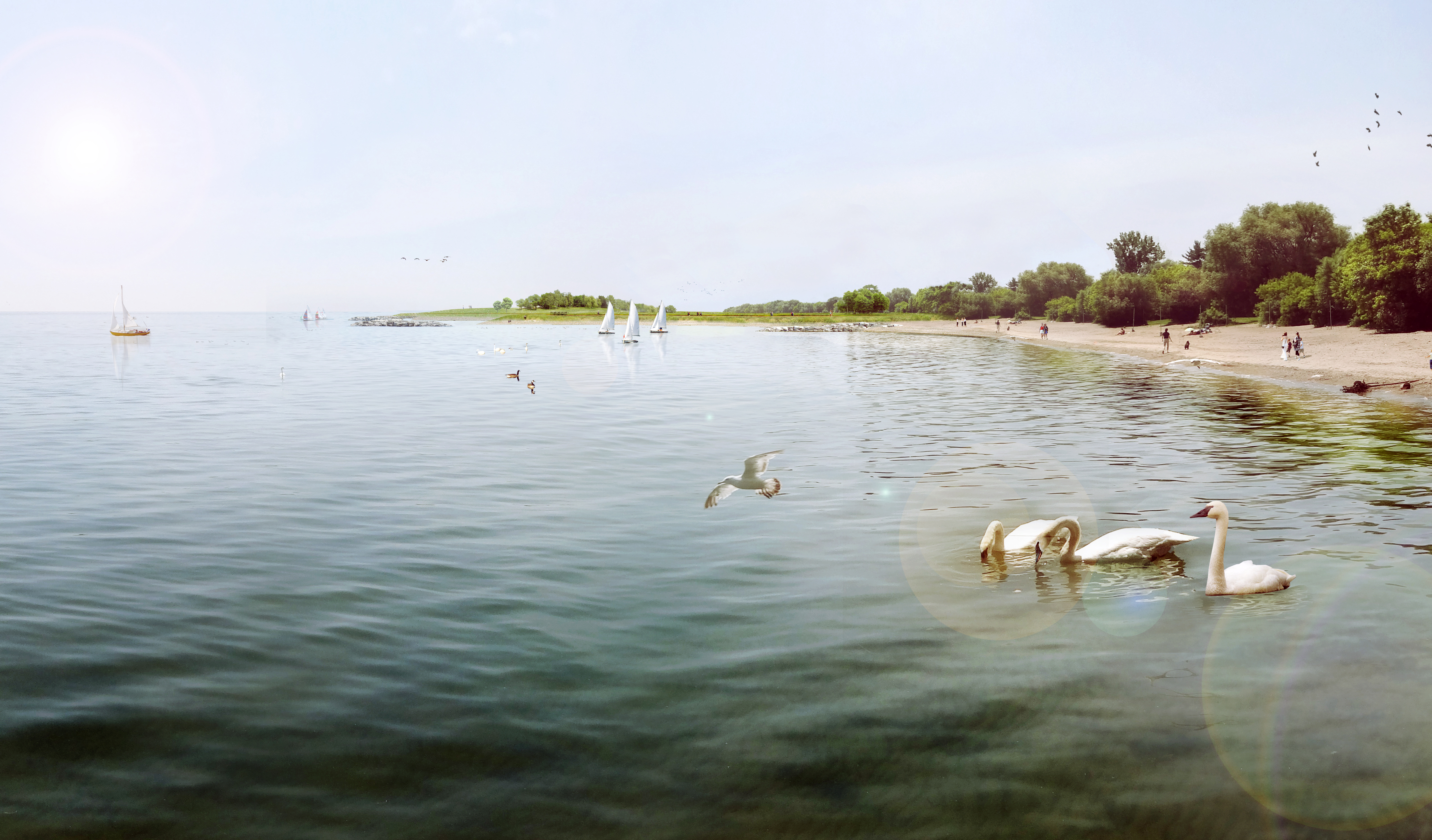 Looking west from the mouth of Etobicoke Creek