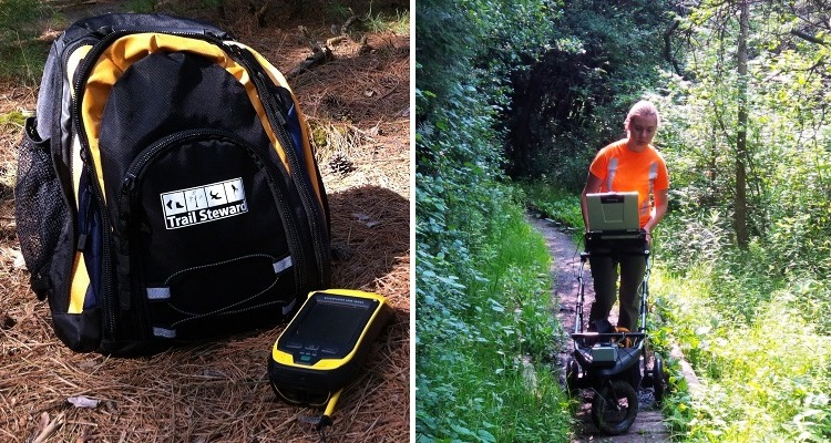 Picture on left shows a backpack with a gps device, picture on right shows an trail accessibility assessment device.