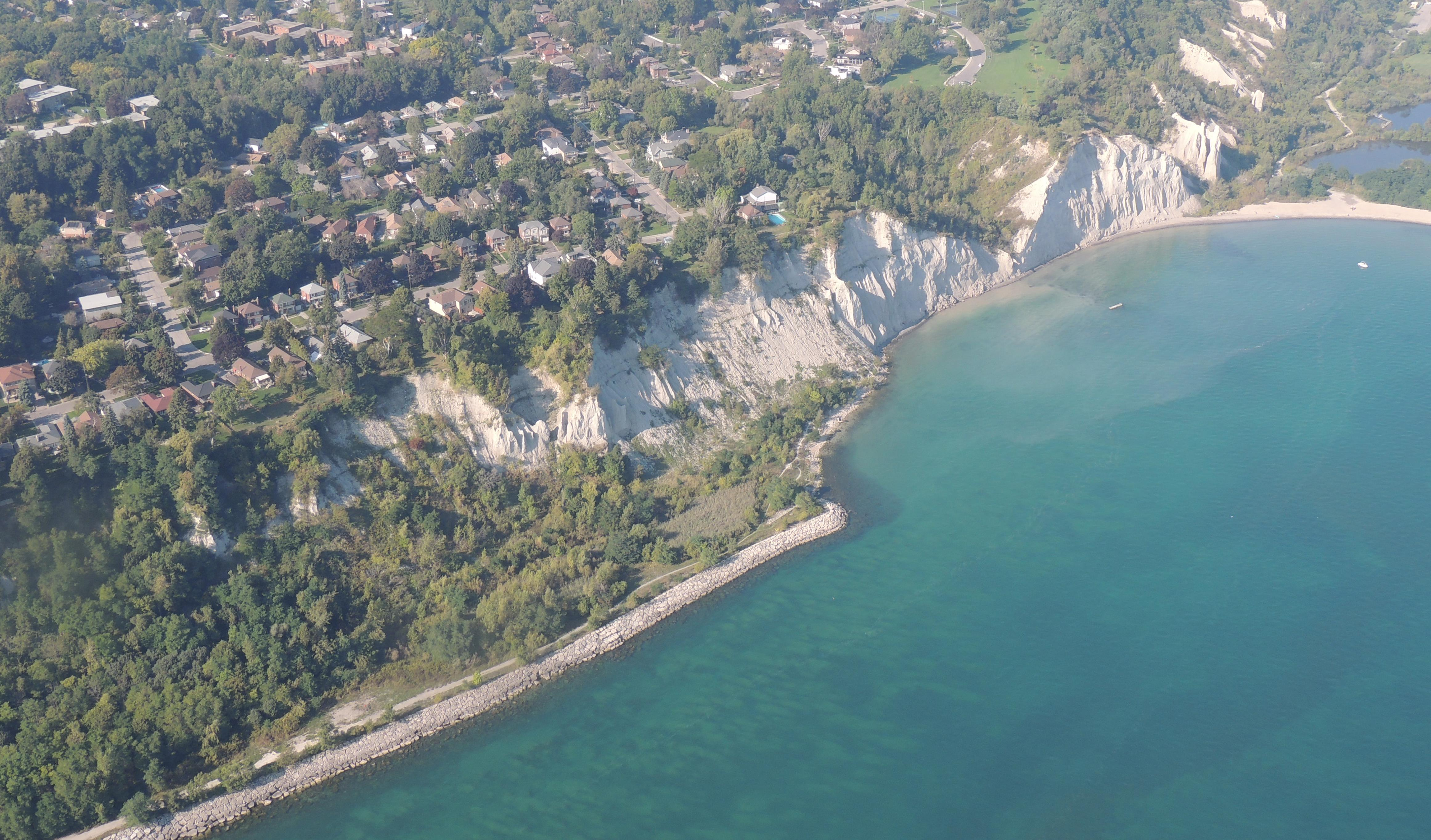 Aerial photograph of existing erosion control