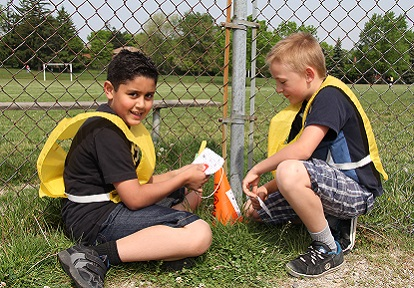elementary school boys participate in Watershed in Wheels program