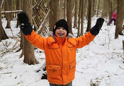 young boy enjoys March Break camp at Lake St George Field Centre