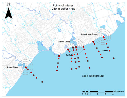 Lake Ontario Waterfront nearshore monitoring points of interest