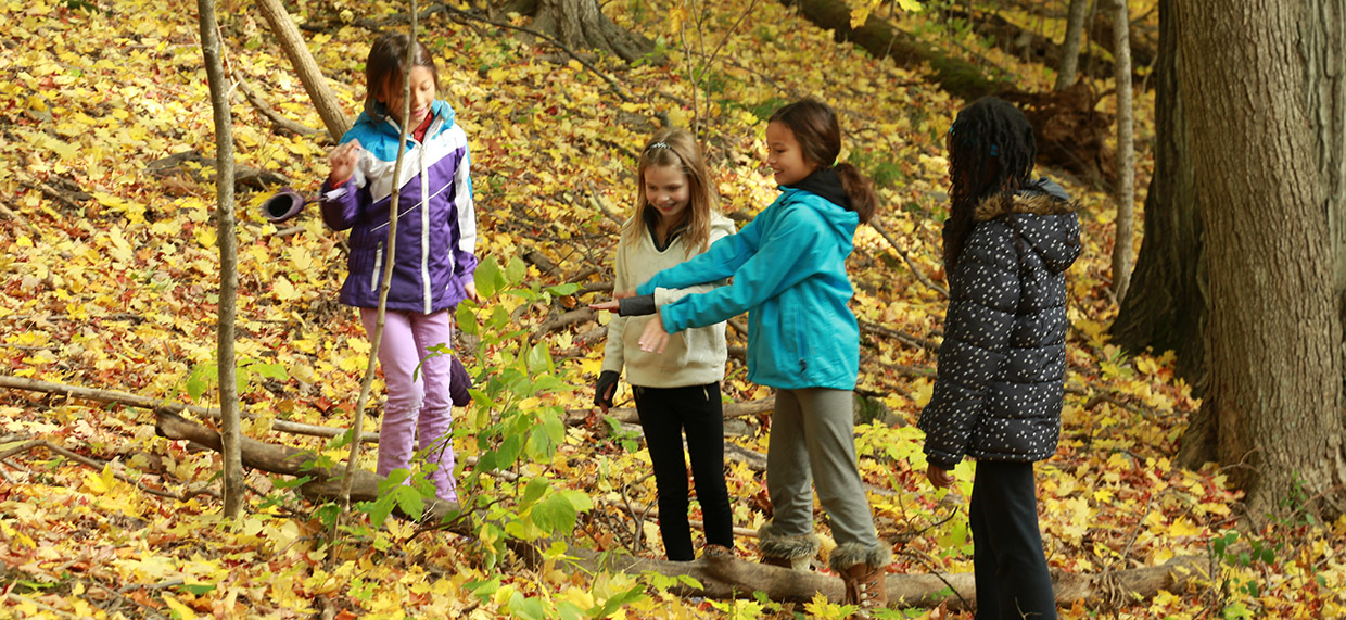 girls explore the forest at Kortright Centre for Conservation