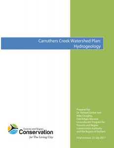 Carruthers Creek Watershed Plan Phase 1 Report, Hydrogeology