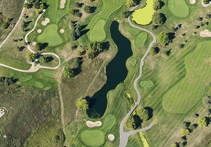 Aerial view of a golf course in the County Court SNAP neighbourhood