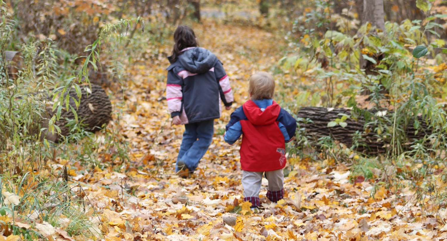 children hiking during the autumn