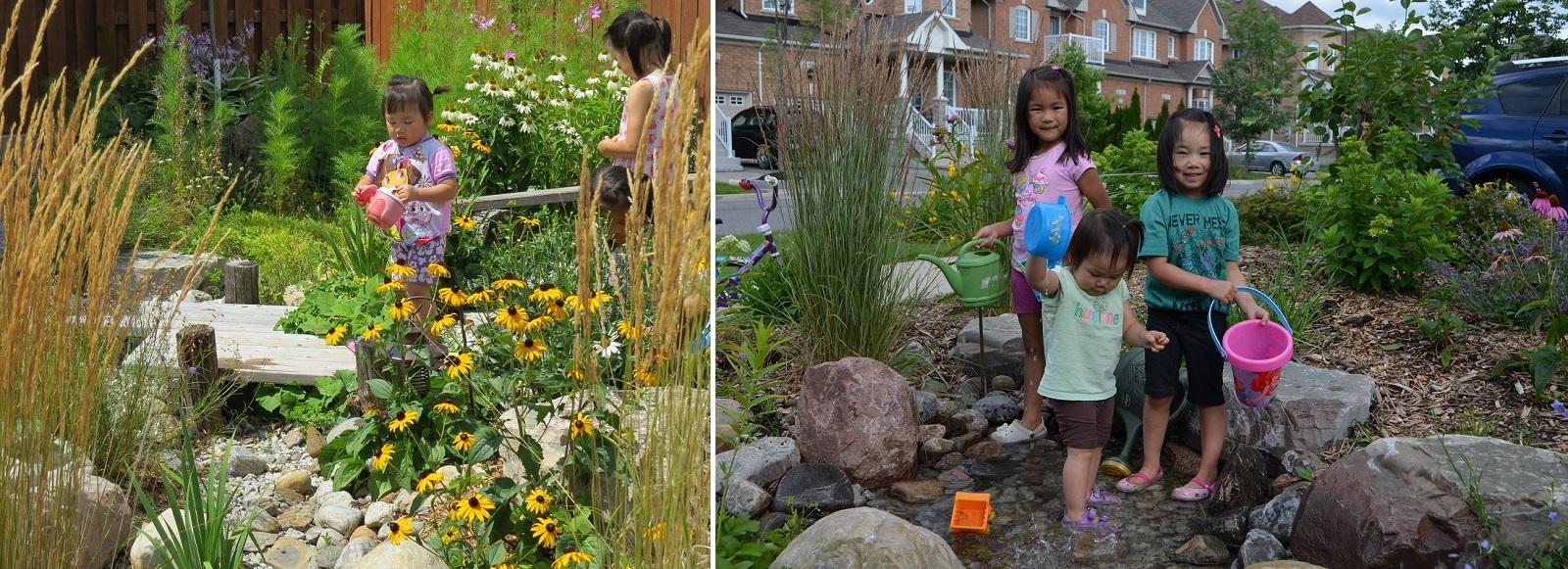 Children enjoy Front Yard Makeover at 95 Wheelwright Drive