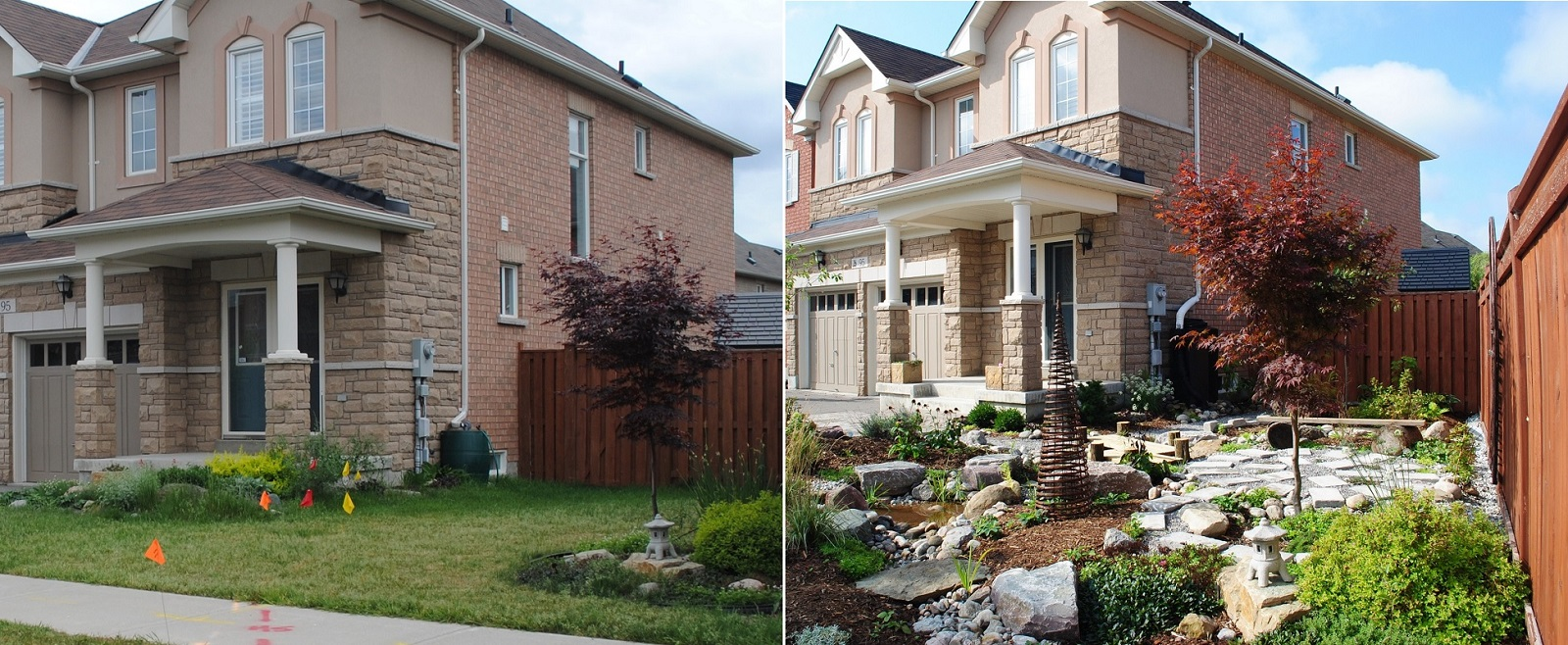 Front Yard Makeover at 95 Wheelwright Drive before and after