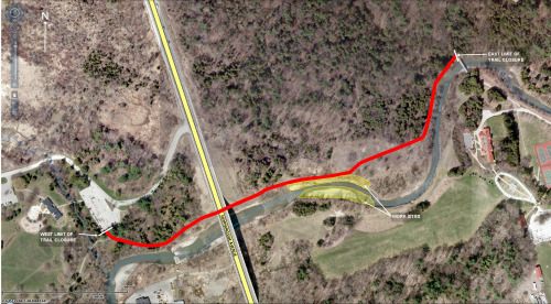 Map showing trail closure during construction.
