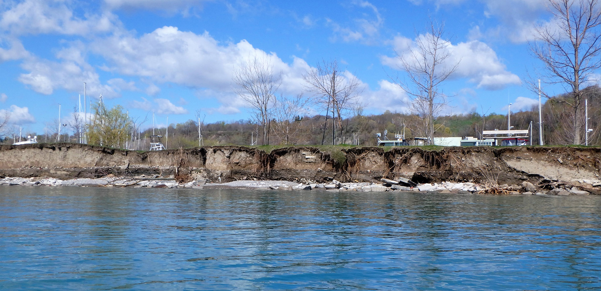 eroding section of shoreline along Lake Ontario