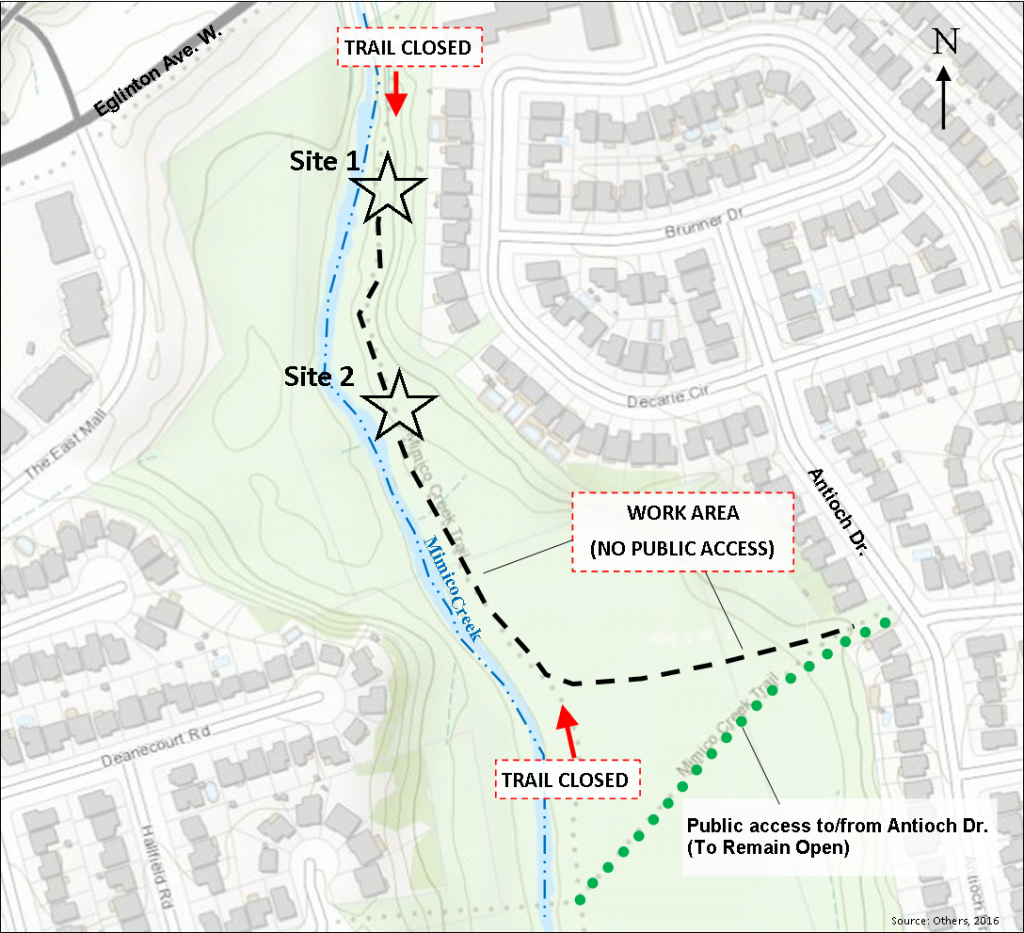 Trail Closure Locations Around Work Site