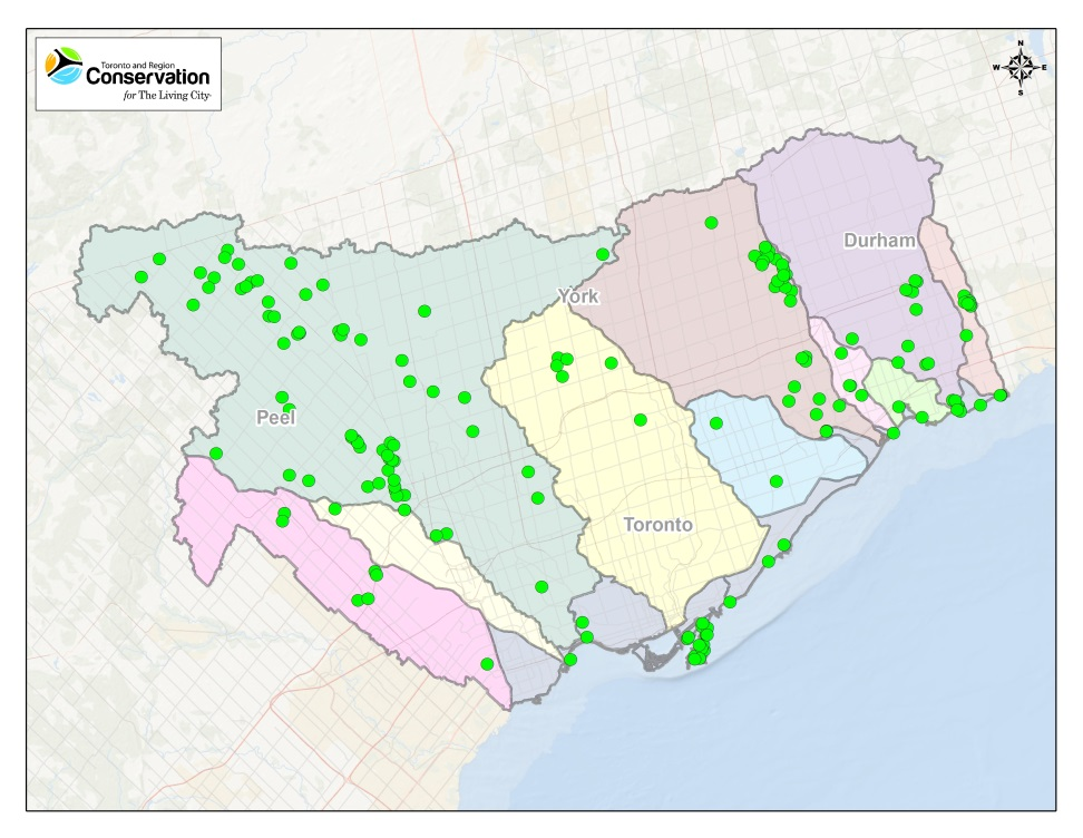 TRCA 2016 restoration projects map