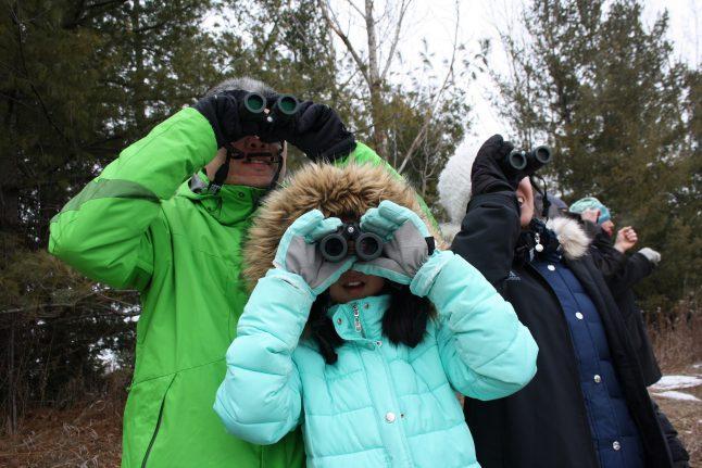Family of three looking for birds through binoculars