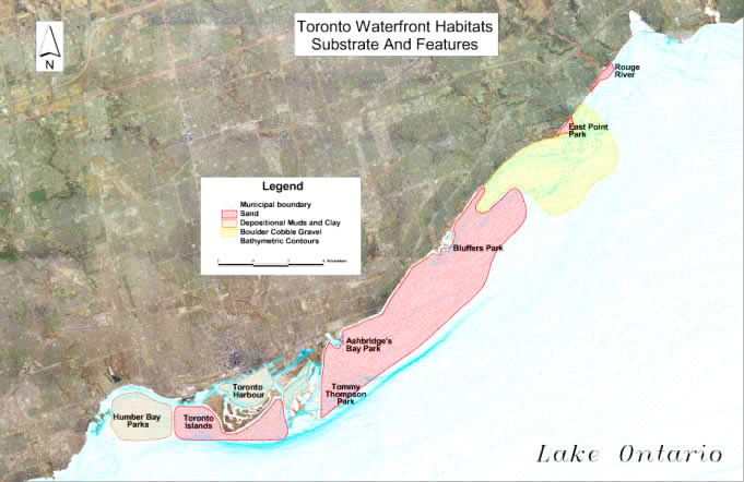 map of Toronto Waterfront substrates