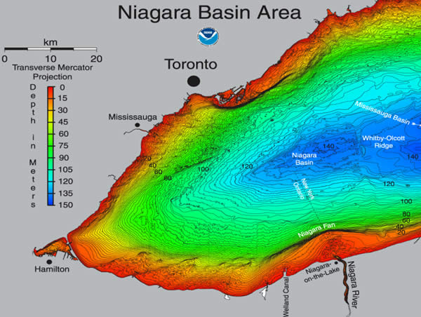 Lake Ontario bathymetry map