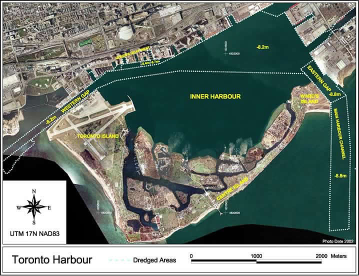 aerial image of dredged areas in Toronto Harbour