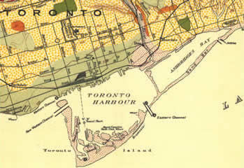 1913 map of Toronto shoreline