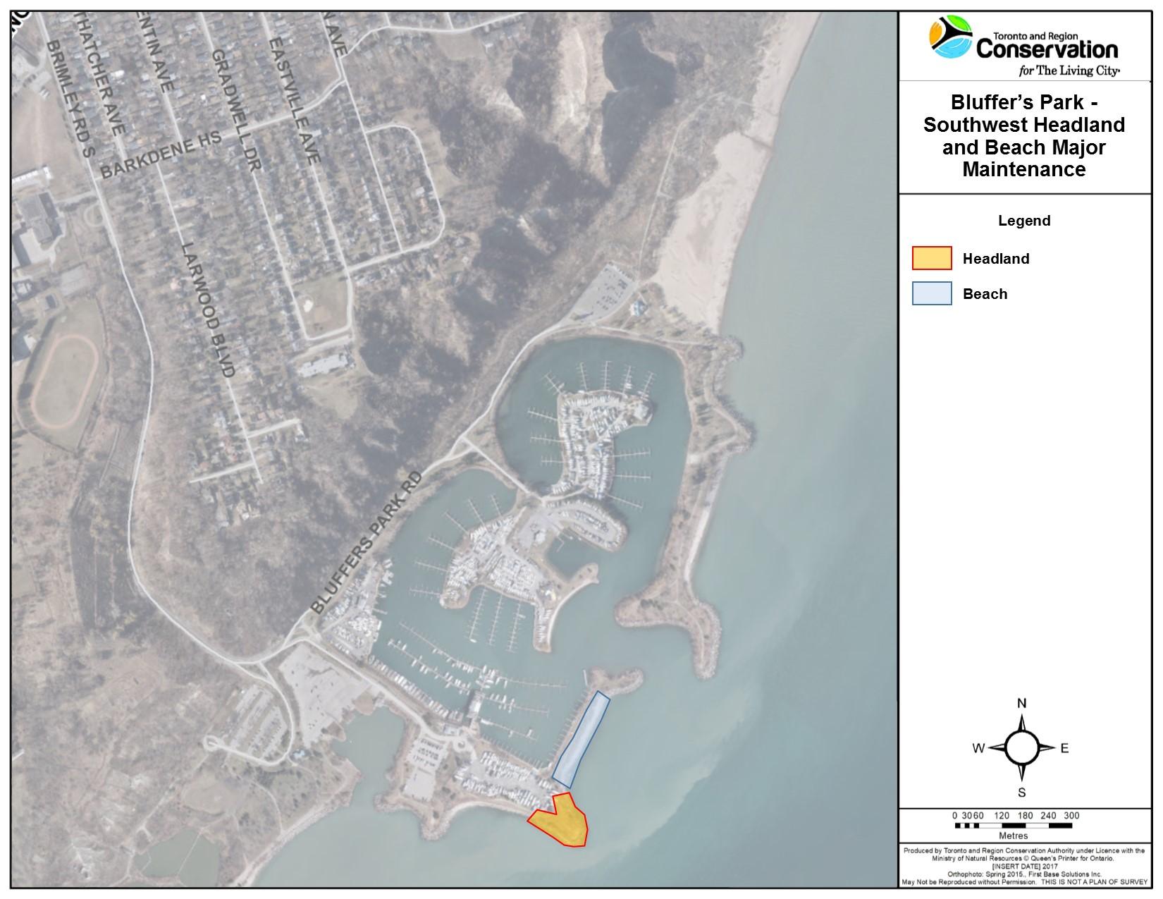 Bluffer's Park Southwest Headland and Beach Major Maintenance Project Area.