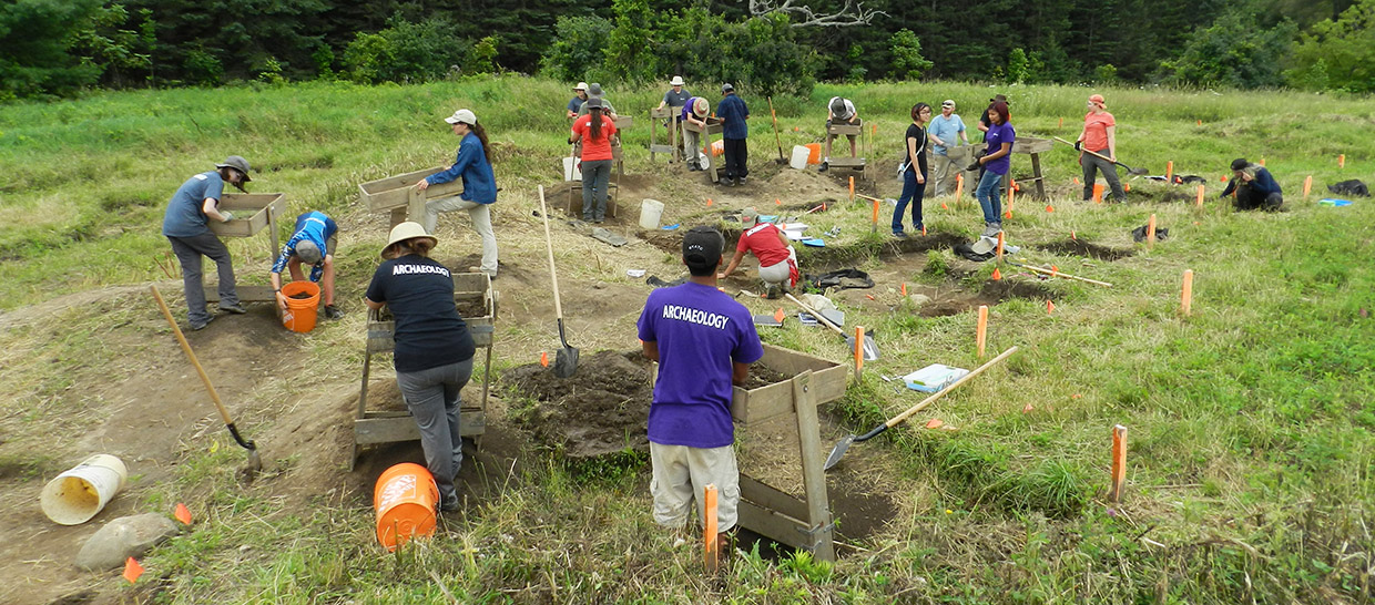 students work on site excavation at Boyd Archaeological Field School