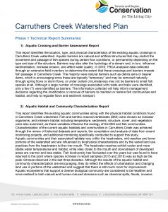 Carruthers Creek Watershed Plan Phase 1 Tech Report Abstracts