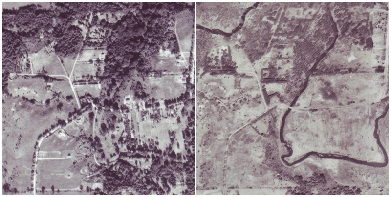 aerial images of Humber Grove from 1954 and 1977