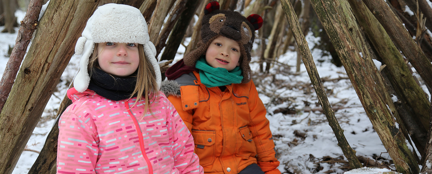 youngsters build shelter at Lake St George Field Centre March break camp