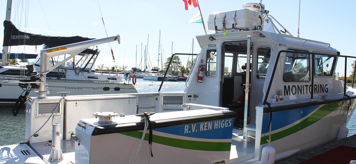 New TRCA research vessel docked at a marina