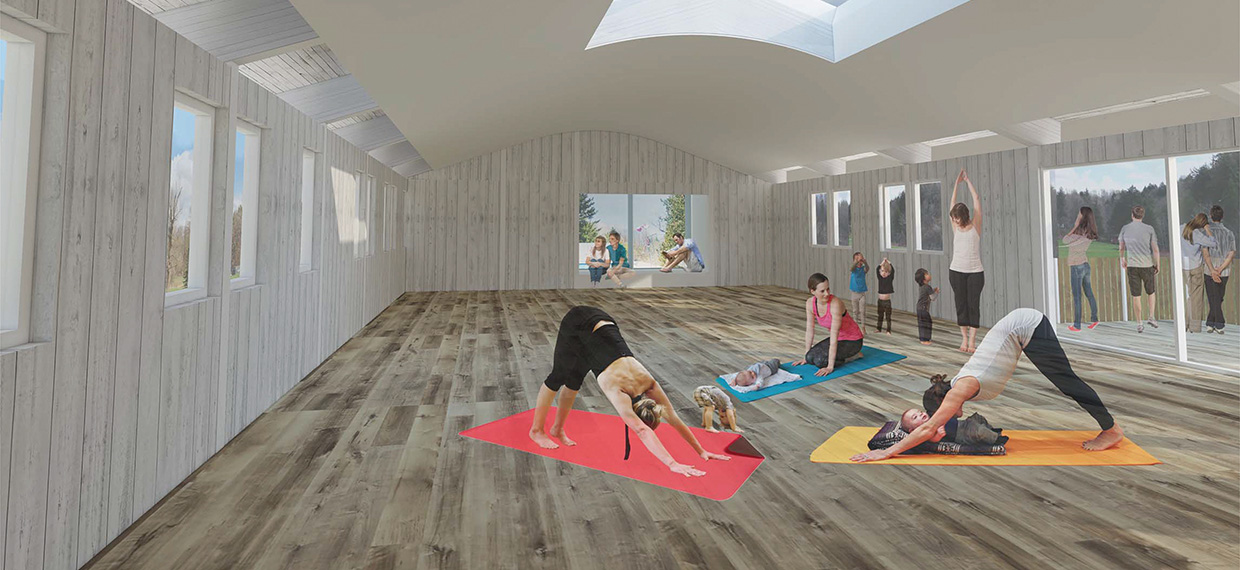 architectural rendering of Bolton Camp Rec Centre being used as a yoga studio