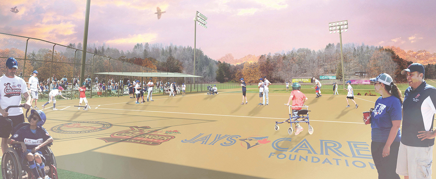 architectural rendering of new baseball diamond at Bolton Camp
