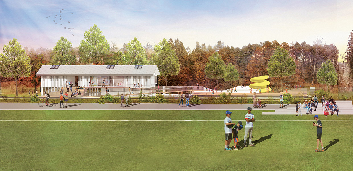 architectural rendering of Bolton Camp recreation hall and baseball diamond