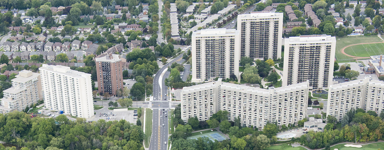aerial view of residential towers in the Burnhamthorpe SNAP neighbourhood