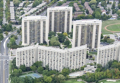 aerial view of residential towers in the Burnhamthorpe SNAP neighbourhood