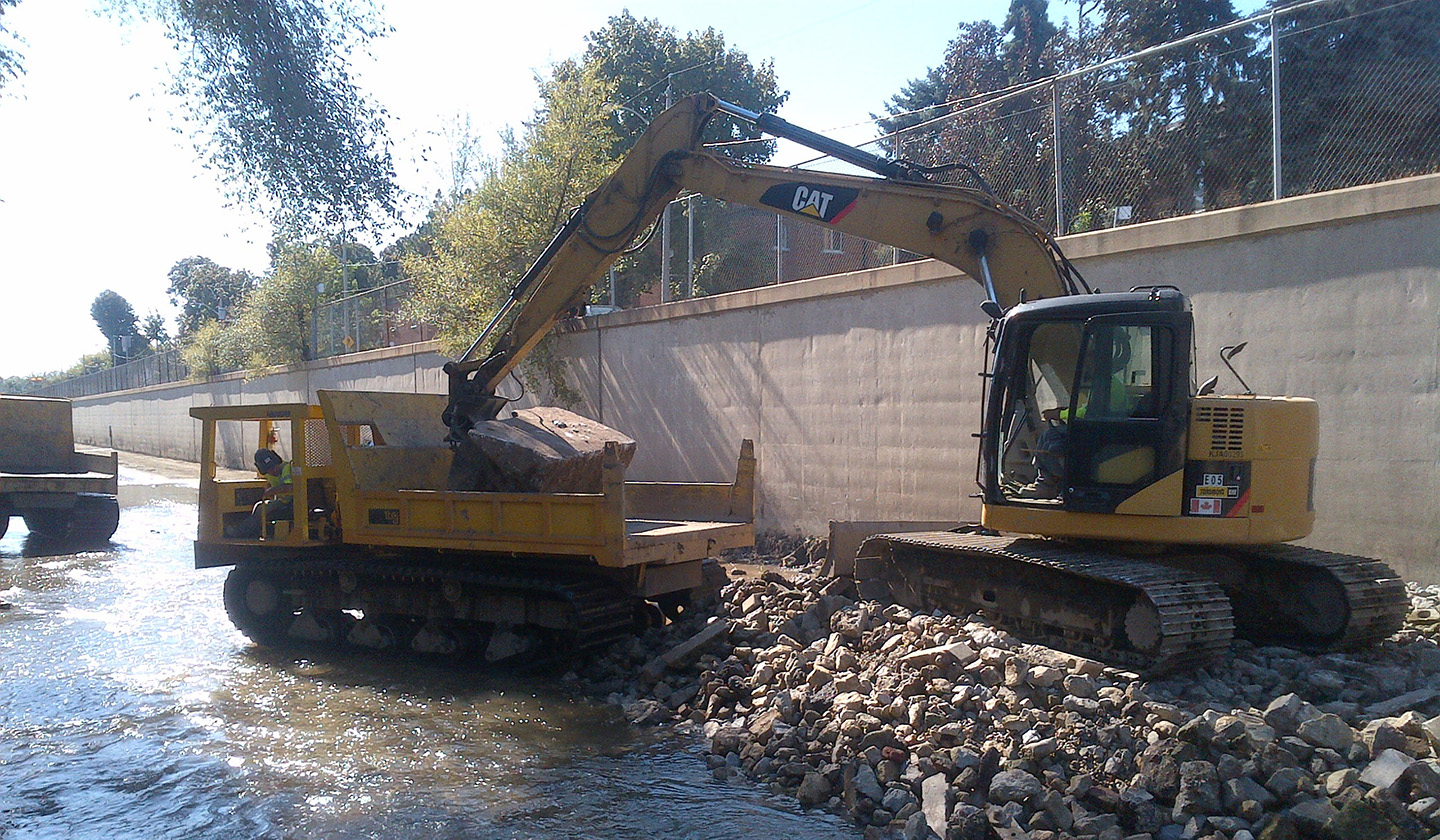 Black Creek flood control channel during dredging