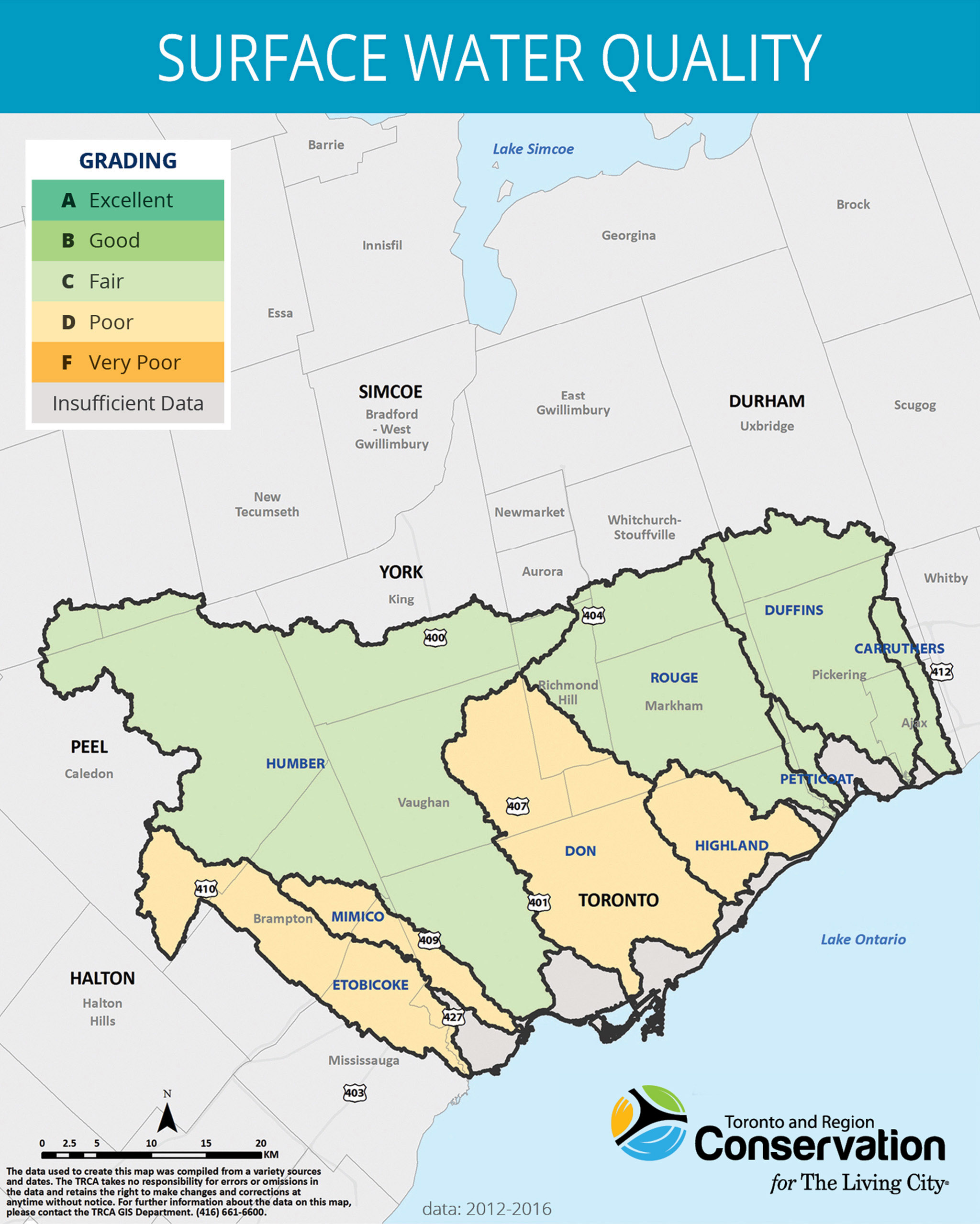 map of surface water quality in TRCA jurisdiction