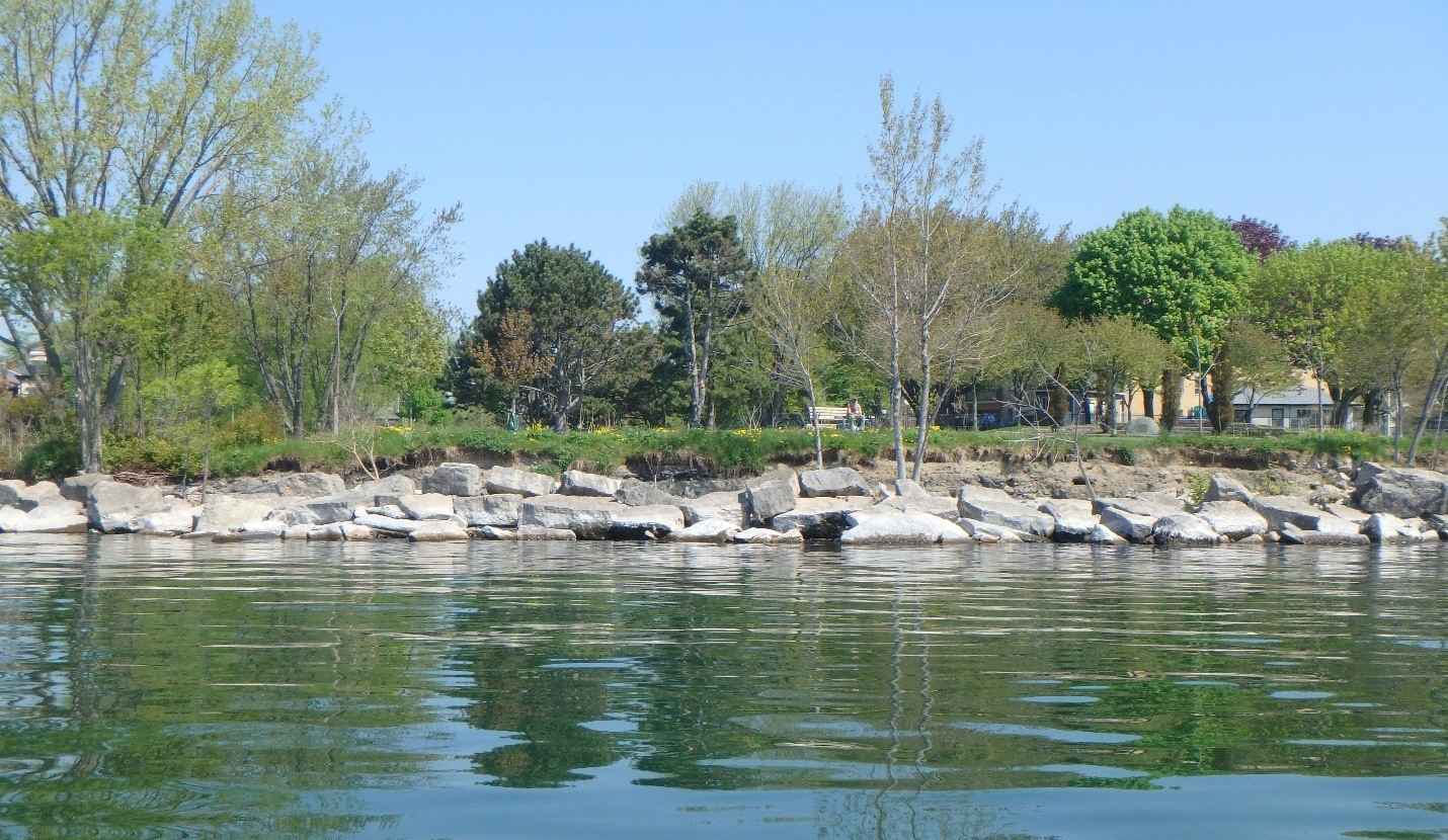 Condition of shoreline showing backshore scouring and irregular armourstone profile. Source: TRCA, 2018.