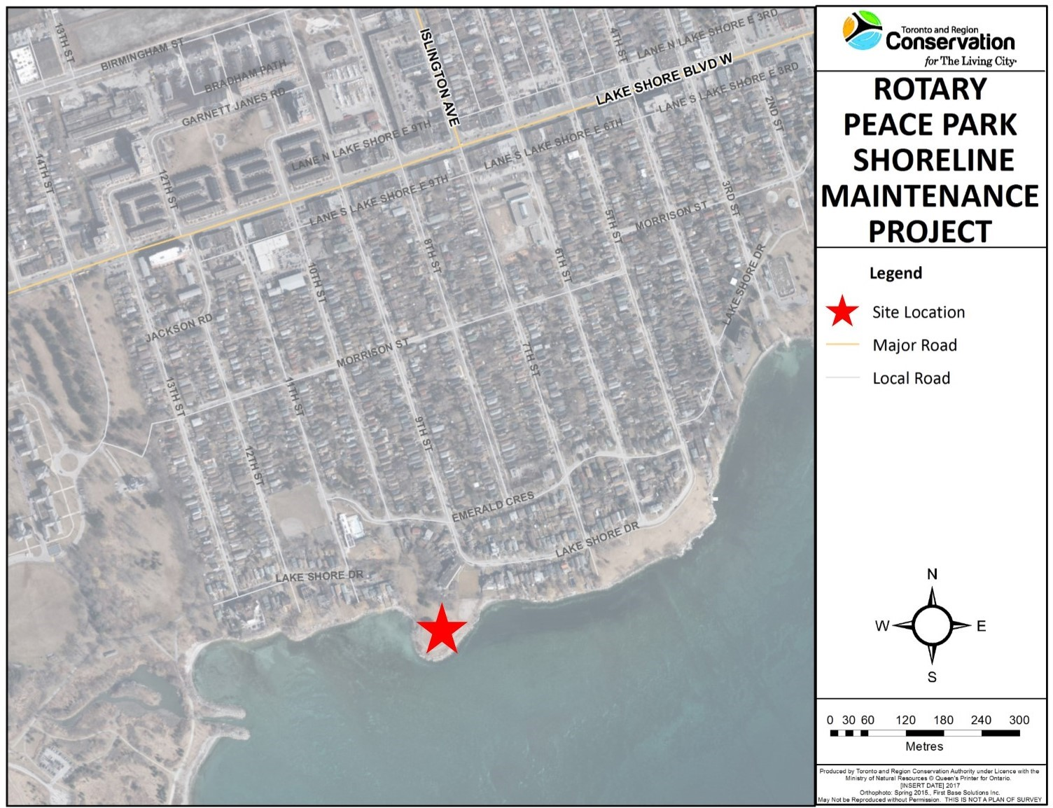 Location of Rotary Peace Park Shoreline Maintenance Project. Source: TRCA, 2018.