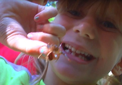 girl holds crayfish at Claremont Nature Centre summer camp