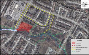 Map of trail closures required for the Maitland Park Stream Restoration Project