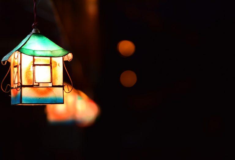Homemade lantern at night