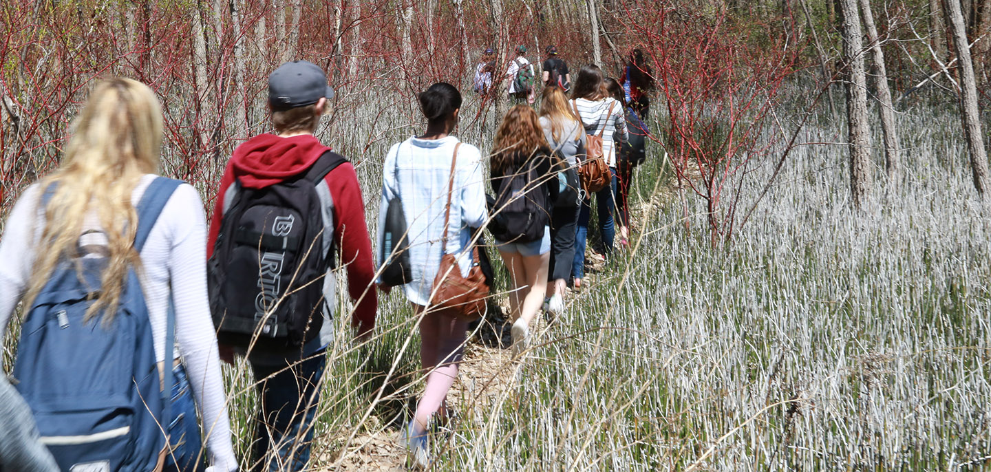 youth group hiking at Tommy Thompson Park