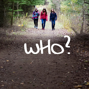 teenage girls walk trail at Kortright Centre