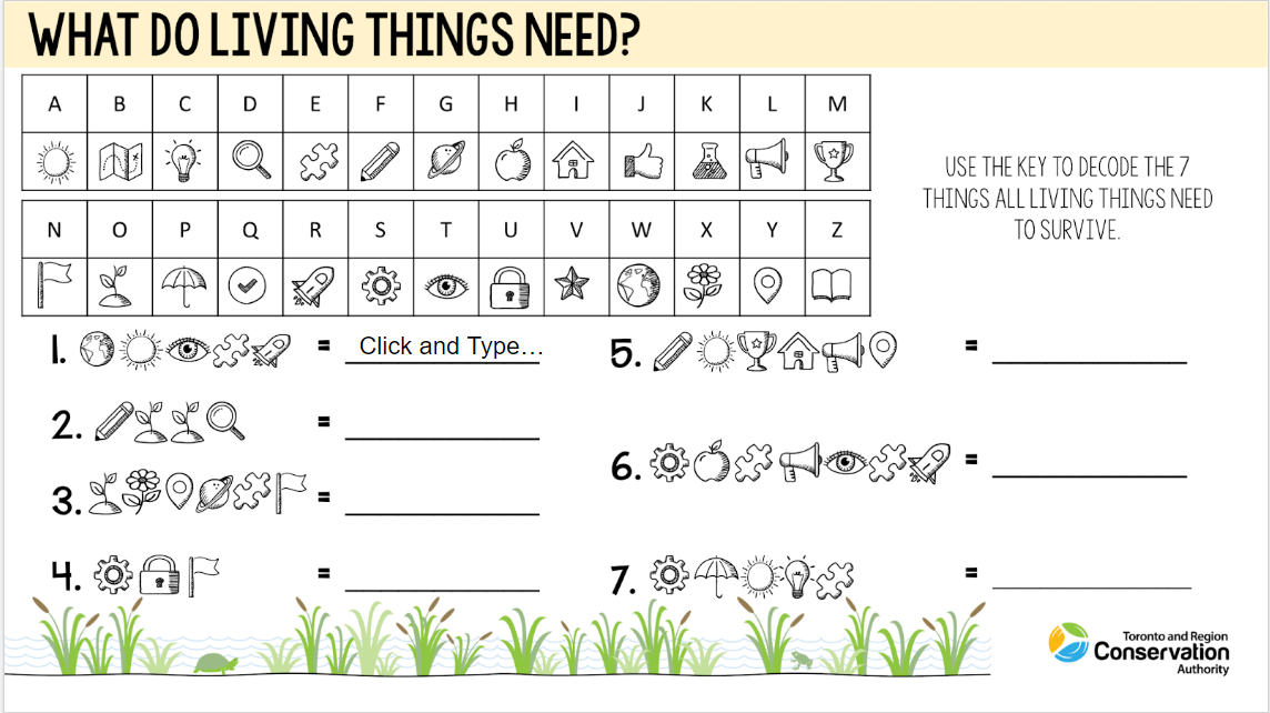 cover page of TRCA Watershed on Wheels needs of living things e-learning resource