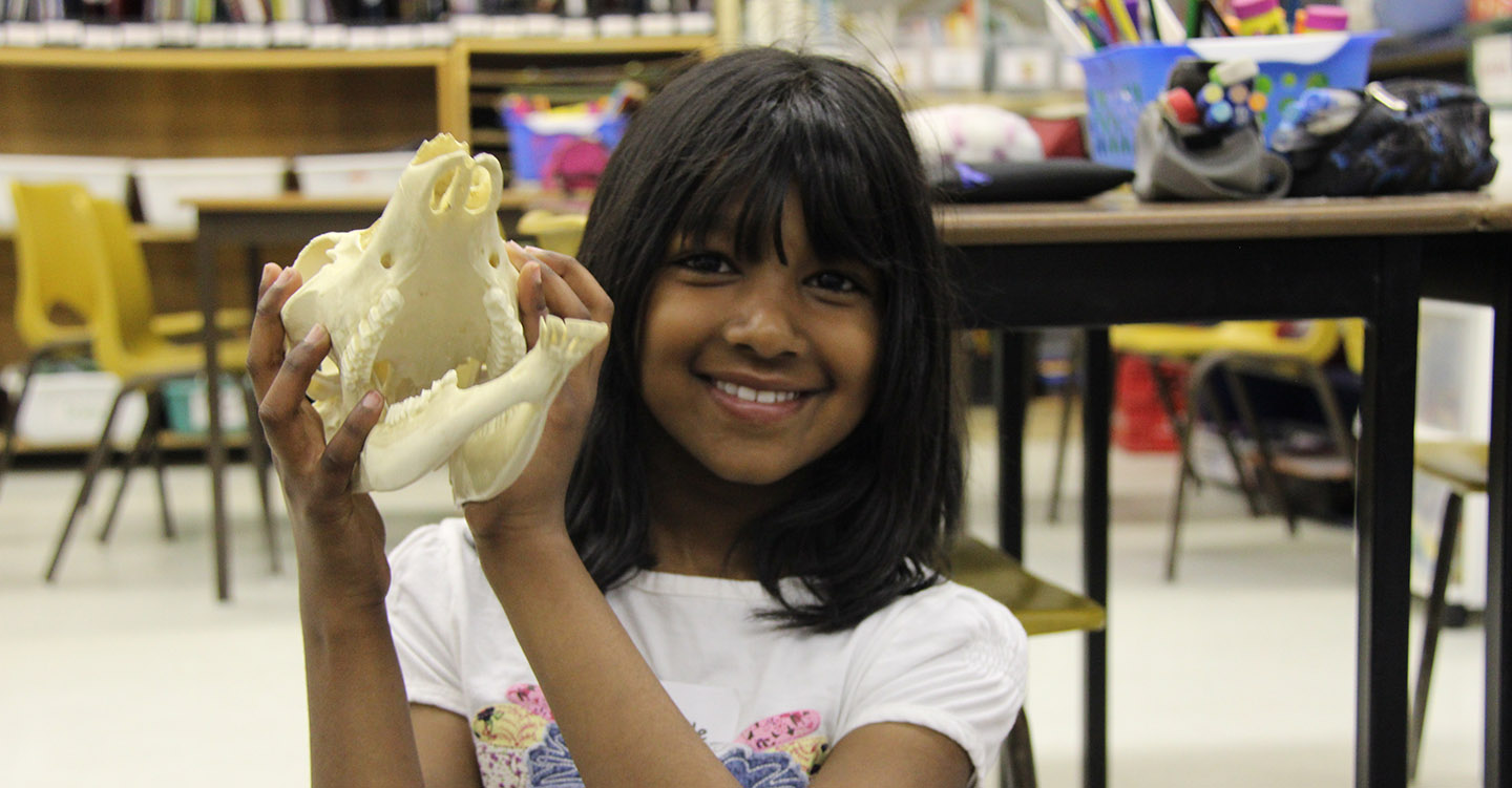 girl holds animal skull during TRCA Watershed on Wheels program