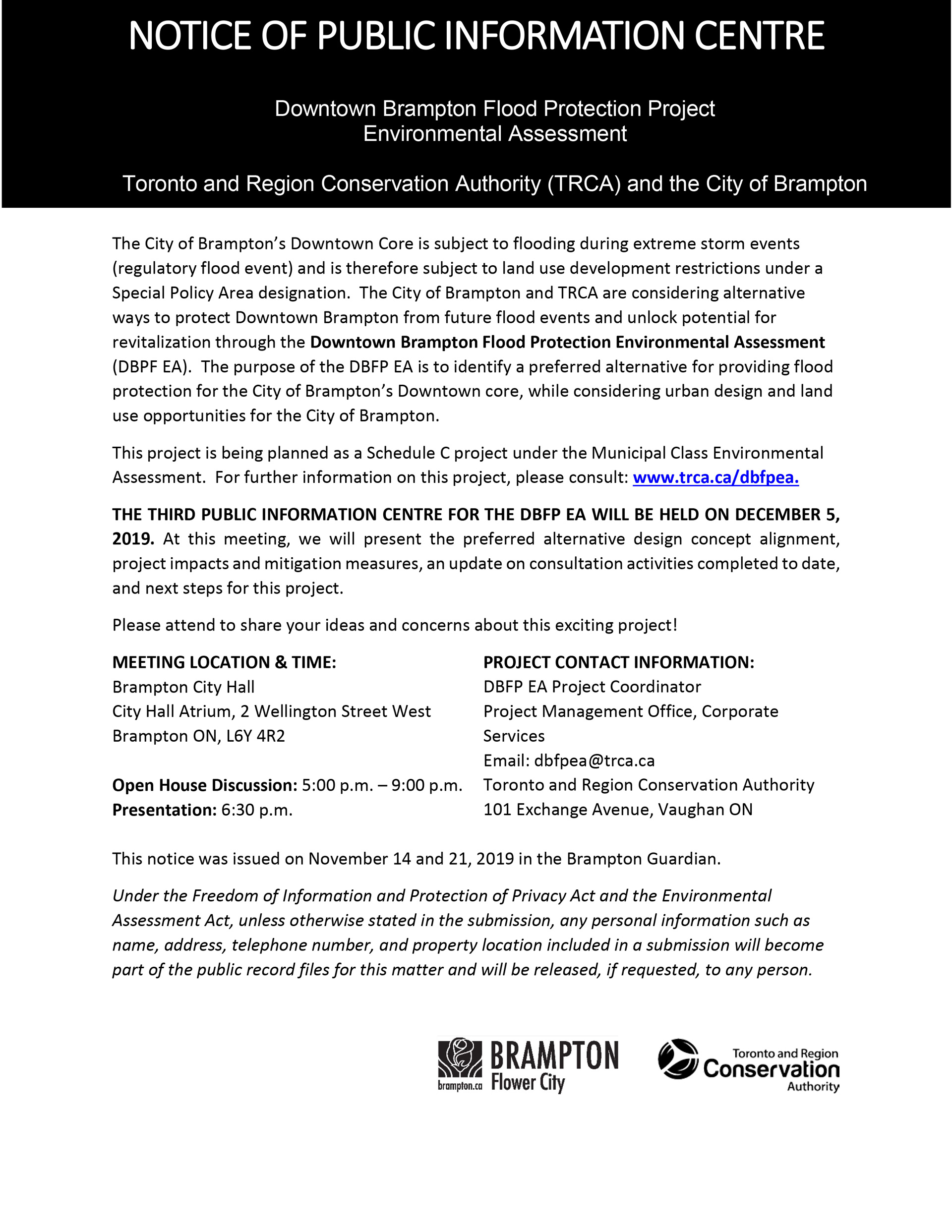 Page 1 notice - Public Information Centre: Downtown Brampton Flood Protection Project Environmental Assessment