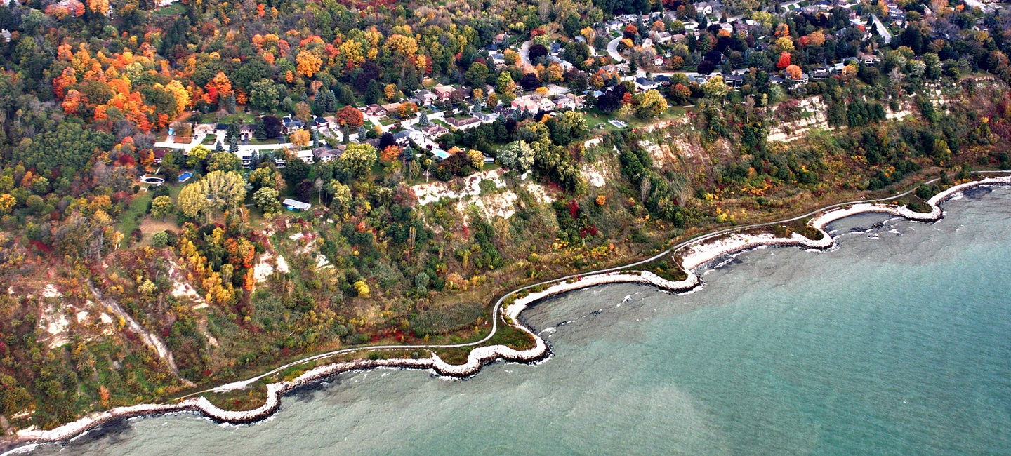 aerial view of Lake Ontario shoreline