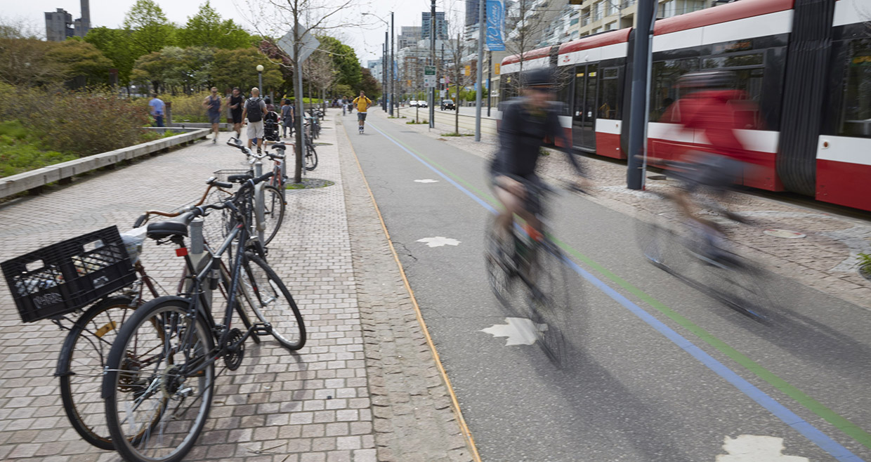 cyclists on Toronto waterfront trail